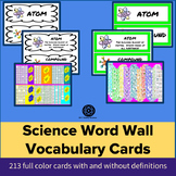 Back to School - FULL YEAR Science Vocabulary Cards / Word wall middle school