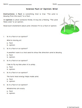 Science Fact or Opinion Worksheets