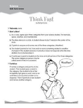 Science: Facts Review (Ten-Minute Activities)