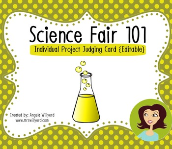 Science Fair 101 - Individual Project Judging Card {editable}