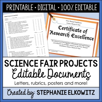 Science Fair Assistant: Letters, Rubrics, Timelines and more!