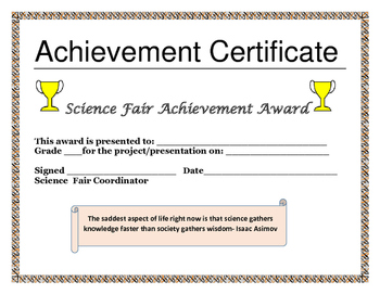Science Fair Achievement Certificate