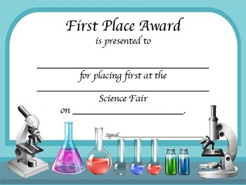 Science fair award certificates by math and science mania for Stem certificate template