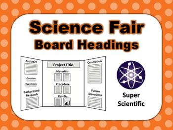 Science Fair Board Category Headings (Orange Polka Dot)
