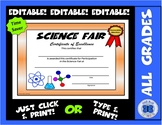 Science Fair Certificate - Honorable Mention - Editable