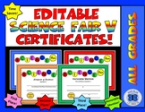 Science Fair Certificates V - Editable
