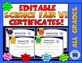 Science Fair Certificates VI - Editable
