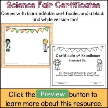 Science Fair Certificates (editable)