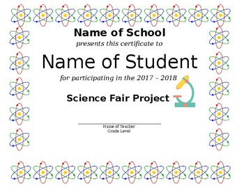 Science Fair Certification of Participation