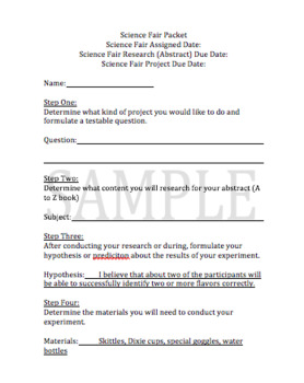 Science Fair Complete Packet