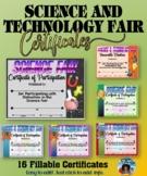 Science Fair Fillable Certificates