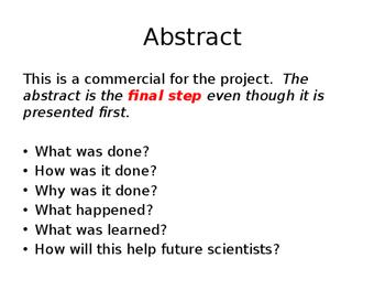 Science Fair / Experiment Description Slides