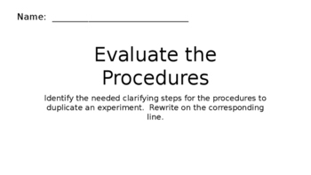 "Science Fair / Experiment ""Evaluate the Procedures"" Lesson"