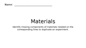 "Science Fair / Experiment ""Materials"" ~ Lesson"