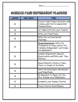 Science Fair Experiment Project Planner