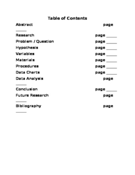 Science Fair / Experiment Table of Contents