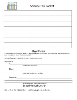 Science Fair Guided Packet for Jr. High Students