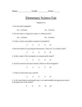 Science Fair Judging Form