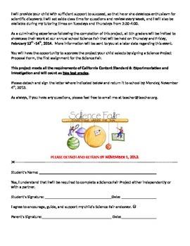 Science Fair Letter to Parents