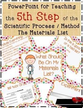5 Science Fair Materials List Teaching PowerPoint with Handouts