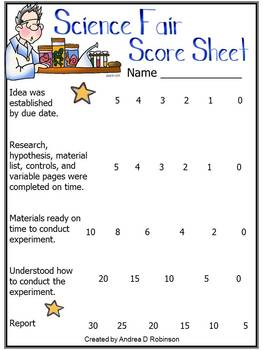 Science Fair Packet of Information