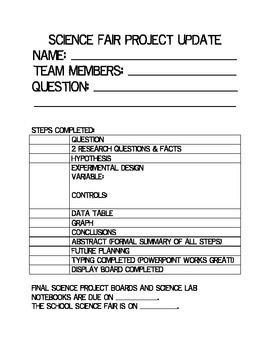 Science Fair Parent Letter & At Home Project Checklist