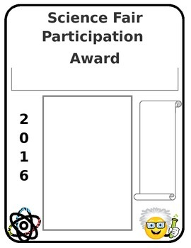 Science Fair Participation Award/ Certificate Editable