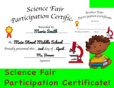 Science Fair Participation Certificate