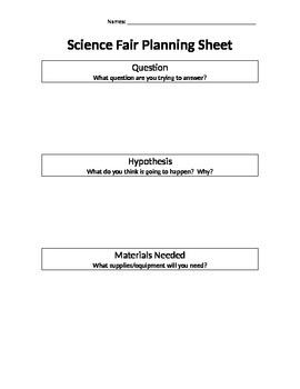 Science Fair Planning Sheet