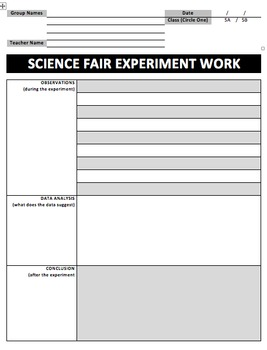 Science Fair Planning and Executing Graphic Organizers