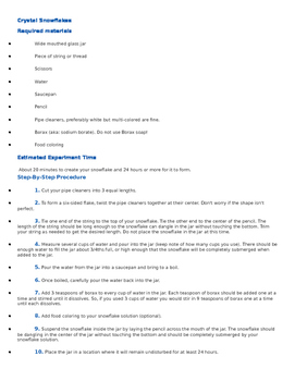 Science Fair Project Idea Sheet - Crystal Snowflakes