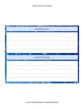 Science Fair Project Journal Forms - experiment log stem projects lab notebook