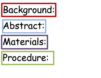 Science Fair Project Labels Headings