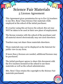 Science Fair Project ~ Licensed for Use By Up to 5 Teachers at the Same School