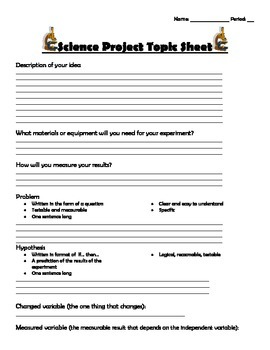 Science Fair Project Outline