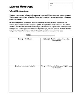 Science Fair Project - Weekly Guide