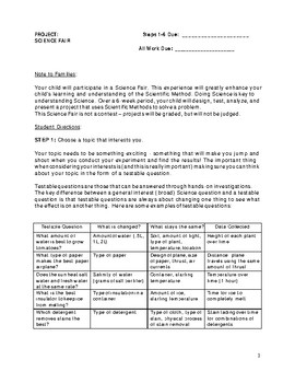 Science Fair Project with Rubric and Check in!