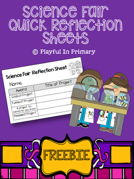 Science Fair Quick Reflection Sheets