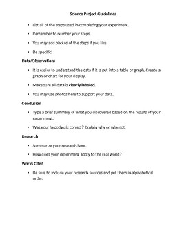 Science Fair Report Guidlines