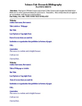 Science Fair Research Bibliography Planning Sheets
