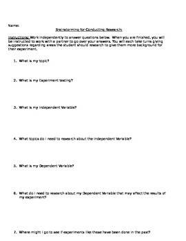 Science Fair Review of Literature Assignment Rubric & Brainstorm