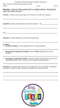 Science Fair Scientific Method Report Graphic Organizer