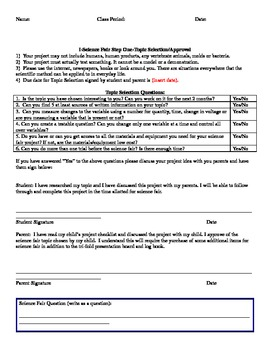 Science Fair: Steps One and Two: Your topic and Bibliography worksheets