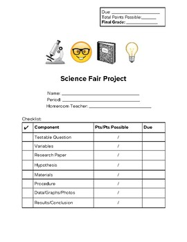 Emoji Themed Science Fair Student Packet