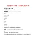 Science Fair Table Objects