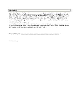 Science Fair Teacher Letter