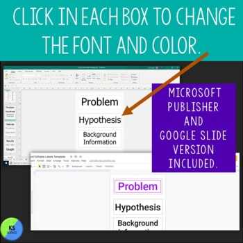 Science Fair Project Labels And Title Template:  Editable