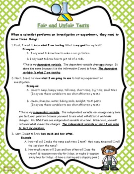 Science:  Fair and Unfair Tests