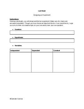 Science Fair assessment or Lab sheet