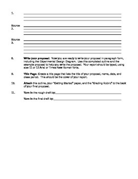 Science Far Project or Experiment Outline